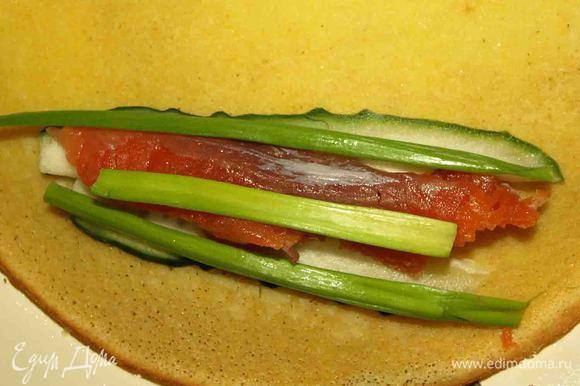 Огурец, семгу режем длинными ломтиками. Зеленый лук (только зеленую часть). Укладываем на блинчик и сворачиваем.