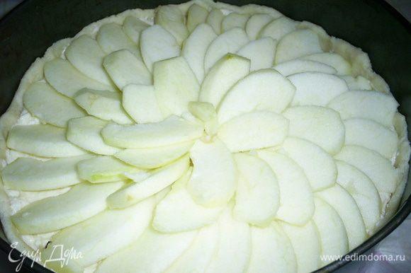 Теперь сверху выкладываем дольки яблок, каждая должна немного прикрывать предыдущую, начинаем выкладывать от края формы и затем двигаясь по спирали, доходим до центра. Посыпаем сверху яблоки сахаром и корицей (по желанию). Выпекаем в разогретой до 180 градусов духовке 35 минут. Следите, чтоб яблоки не пригорели.
