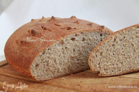 Дать хлебу полностью остыть, лучше на решётке. Угощайтесь на здоровье!