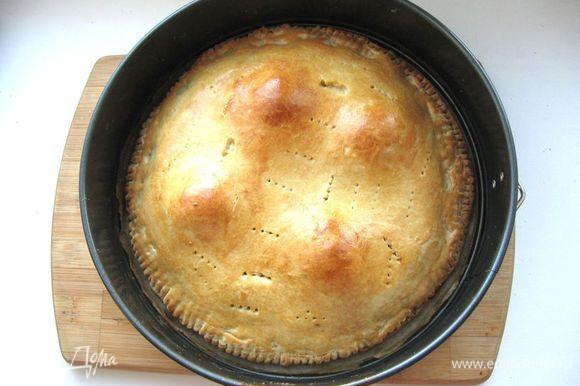 Выпекать пирог 40 минут: сначала минут 10 при температуре 210 градусов, затем при температуре 180 градусов. Через 10 -15 минут после начала выпечки сделать проколы вилкой, смазать 1 яйцом, смешанным с 1 ст.л. молока. Вынуть пирог из духовки, дать отдохнуть.