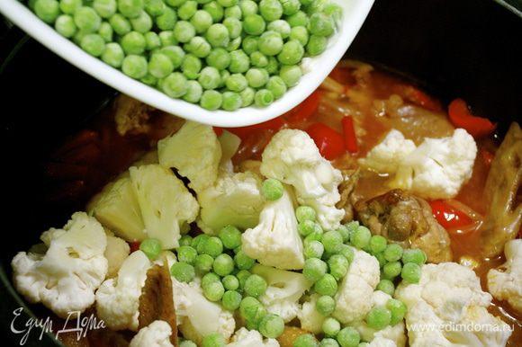 Цветную капусту разделить на маленькие соцветия. Через 20 минут добавить цветную капусту и зеленый горошек и опять довести до кипения.