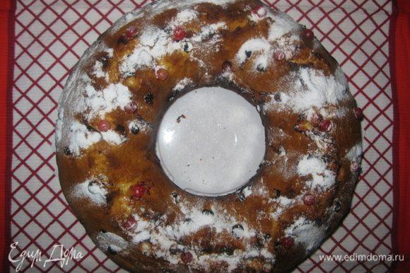 У меня форма для кекса 24 см. Кекс вынимаем и посыпаем сахарной пудрой (для украшения). Приятного апппетита!