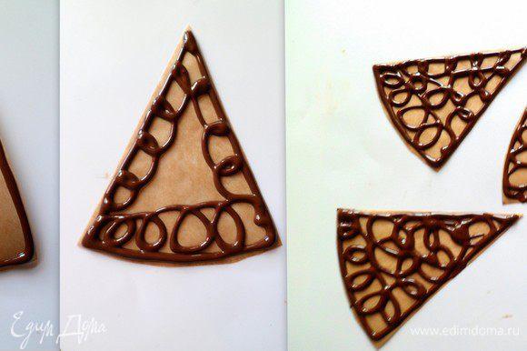 Для ажурной обертки топим шоколад, оставляем остывать на некоторое время. Когда шоколад будет по консистенции как густая сметана, помещаем его в полиэтиленовый мешочек (или в кондитерский шприц). Из бумаги вырезаем треугольники (можно какие угодно фигуры). Рисуем сначала основу, шоколад не должен быть жидким иначе фигуры будут хрупкими. Зарисовываем серединку, произвольно. Оставляем немного заготовки ,когда шоколад начнет немного застывать.