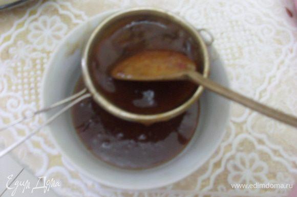 Отцедить сироп через сито с довольно крупными ячейками. Охладить и подавать к гречневым блинам.