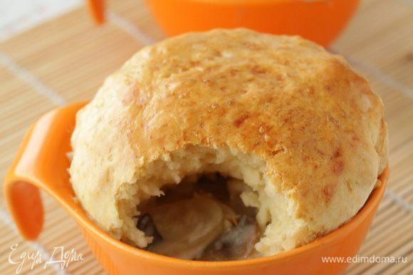 Приятного аппетита! Лучше крышечку снять и кушать вприкуску вместо хлеба.