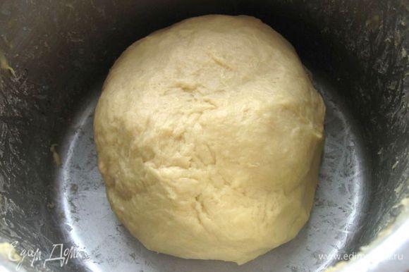 Тесто должно быть без комков, эластичным, однородным. У меня вымешивание заняло 35 минут. Дать подняться в теплом месте в течение 1 часа.