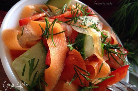 Посыпать мелкопорубленной зеленью и подаем к столу! Гармонично с мясом, картофелем и просто для легкого перекуса! Приятного аппетита! :)