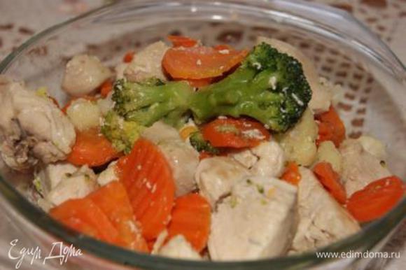 Выложить овощи и курицу в другую посуду.