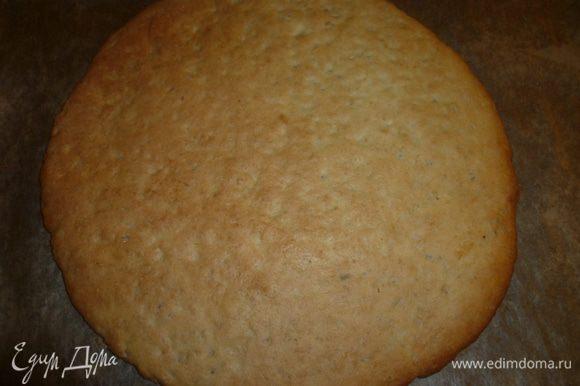 Застывшее тесто разделить на три части, раскатать каждую в круглый пласт. Выпекать при температуре 200 градусов до золотистого цвета.