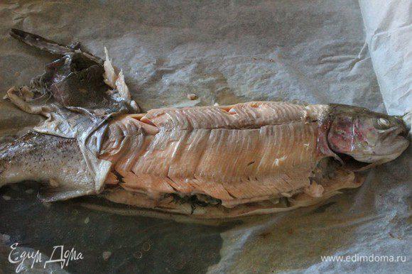 С лосося аккуратно снять кожу, удалить плавники. Убрать из брюшка травы. По всей длине рыбы «чешуей» уложить кружки огурцов. Подать к столу вместе с соусом.