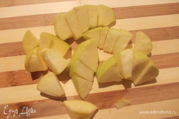 Крупное яблоко,или два мелких,порезать кубиком.