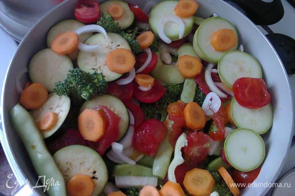 """На дно кастрюли выложить мясо, подсолить, и потом слоями лук, картофель, помидоры, чеснок, болгарский перец, кабачки, морковь, стручковую фасоль, баклажаны, капусту брокколи, зелень и сверху кусками белокочанную капусту. Не забывайте через слой подсолить. Сверху еще раз подсолить, поперчить и положить перец горошком. У меня набор """"Пять перцев"""", можно еще зиру положить. Закрыть крышкой и на очень маленьком огне тушить 1-1,5 часа. Все зависит от мяса. В конце перемешать, если мясо жирное, то так подавать, если постное или делаете с куриной грудкой или индейкой, то добавить сливочное масло 30 г можно посыпать свежую зелень. Подавать с салатом."""
