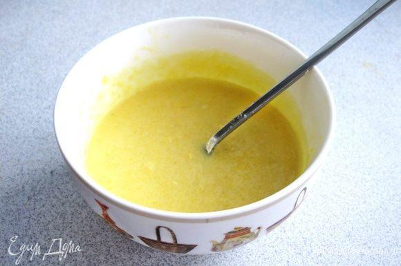Смешать с манговым пюре и половиной чайной ложки желатина.