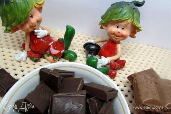 Шоколад наломать кусочками.