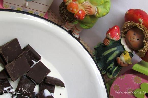 Добавить в емкость с шоколадом – 4 ст. л. сливок (из общего количества).