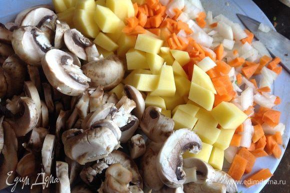 Лук, морковь, картофель и грибы почистите и нарежьте на кусочки.