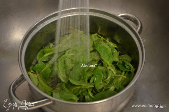Салатные листья на 4 порции помыть под проточной водой. Салатная смесь молодых листьев как шпинат, кале.
