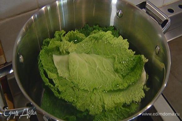 Капустные листья, срезав грубые черенки, опустить на 5–7 минут в кипящую воду, затем откинуть на дуршлаг.