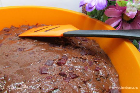 Выложить тесто в силиконовую форму для выпечки, диаметром 22-24 см. Если у вас нет силиконовой формы, то предварительно смажьте форму растительным маслом, аккуратно присыпьте мукой и стряхните лишнюю, затем кладите тесто. Разровнять тесто мокрым ножом или силиконовой лопаточкой. Поставить в духовку, нагретую до 180-190 градусов, на 40-50 минут. Проверить готовность деревянной шпажкой.