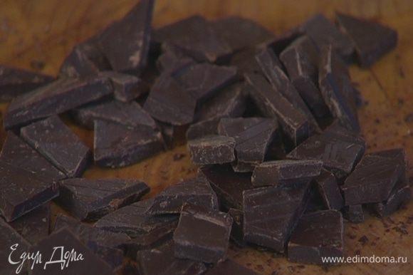 Поломать 100 г шоколада на небольшие кусочки.