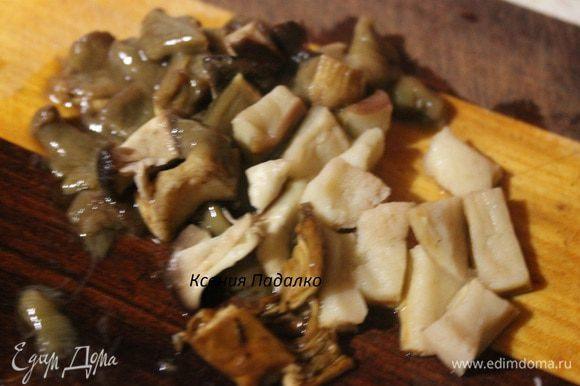 Белые грибы нарезать средними кубиками.