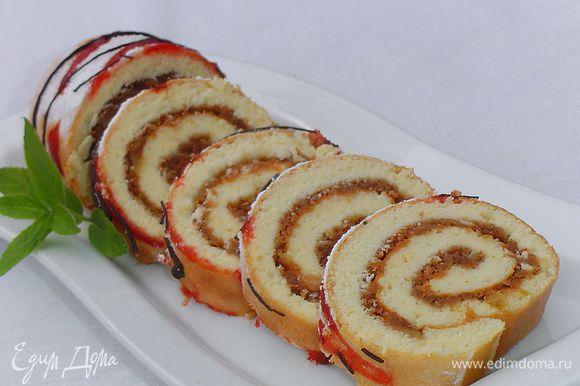 бисквитный рулет с яблоками рецепт с фото