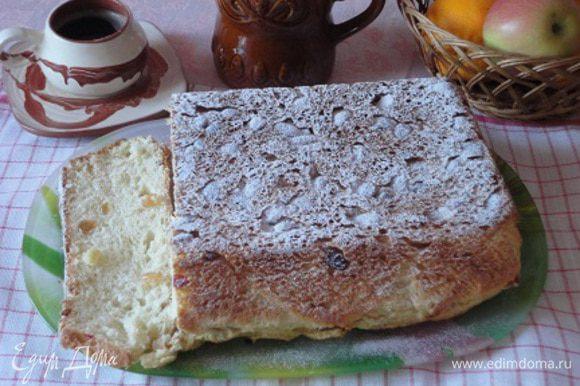Кекс выпекать около 50 минут в нагретой до 180°C духовке. Готовый кекс остудить и посыпать сахарной пудрой.