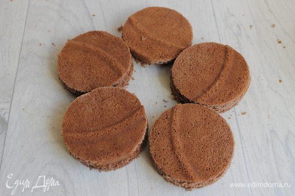 Вырезаем круги из бисквитов. Вот такие заготовки у нас будут. Делаем их парное количество.