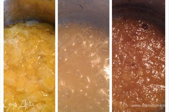 Тем временем приготовим апельсины. Очистить их от кожуры и грубых белых прожилок, залить водой и уварить. Когда они станут помягче, горькую воду слить, налить новой и уварить еще раз. Сахар и лимонный сок добавляйте постепенно по вкусу, т.к. вареные апельсины мне показались вовсе безвкусными) Пюрировать погружным блендером и еще уварить. Слегка остудить.