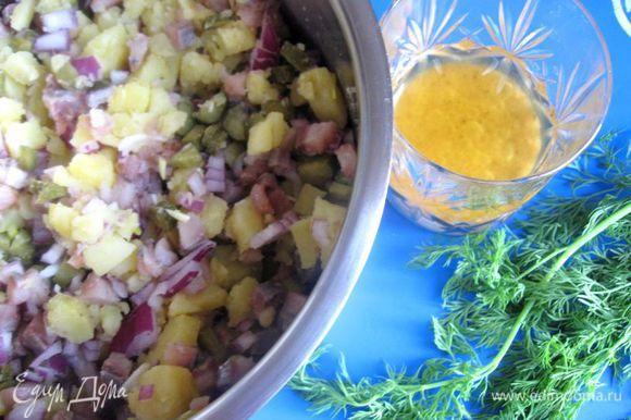 Приготовить заправку. Смешать горчицу, белый винный уксус, соль, перец, масло от сельди.