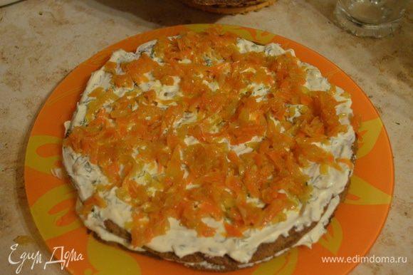 Затем зажаренные морковка с луком (если много растительного масла, рекомендую предварительно отжать прожаренные овощи). Потом снова корж.