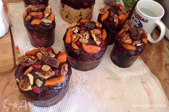 Для шоколадных куличей сделать ганаш: 100 гр шоколада горького, 50 гр сливок 30-35%, украсить орехами и финиками. Еще вкусно, если в тесто с шоколадом вмешать сушенную клюкву или вишню.