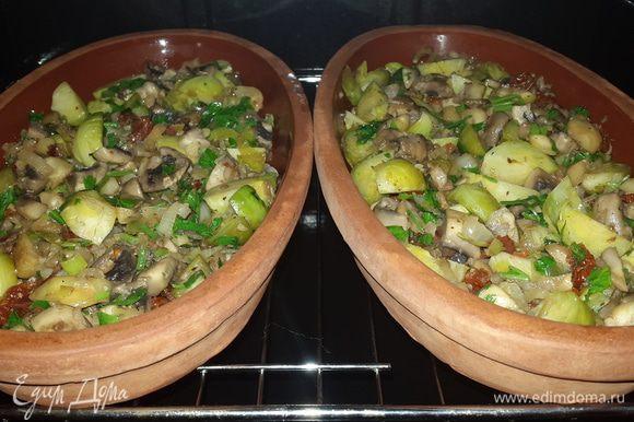 Выкладываем смесь в тарелки и отправляем в духовку запекаться на 15 минут при температуре 200С . Тарелки предварительно замачиваем в холодной воде на 10-15 минут.