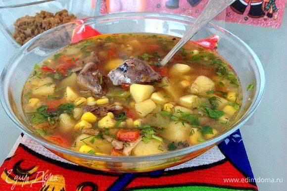 Перед подачей посыпьте суп зеленью. Приятного аппетита!