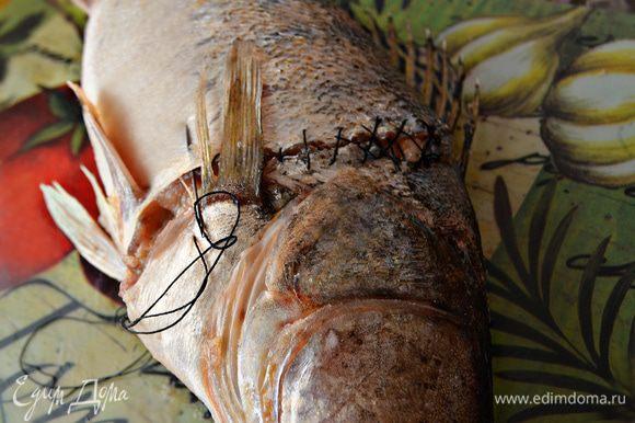 С помощью нитки и иголки пришиваем голову судака к туловищу. Делайте это очень аккуратно, чтобы не порвать кожу рыбы и не пораниться.