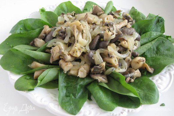 Разложите салатную зелень по тарелкам, сверху выложите порцию теплых грибов. Полейте салат горячей заправкой.