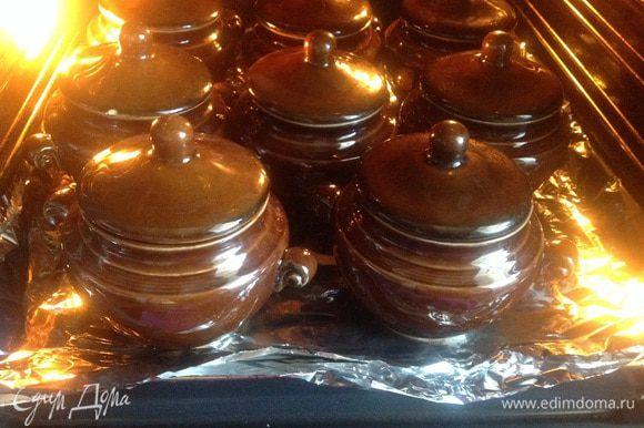 Готовьте горшочки в предварительно нагретой до 180 градусов духовки в течении 2 часов.