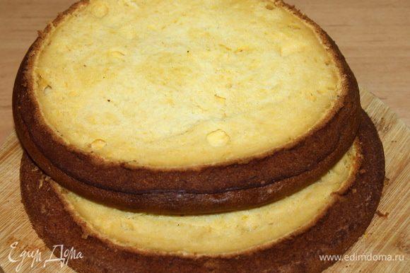 Форму для выпечки смазываем маслом и выливаем тесто. Выпекаем при t=180°С 45 минут. Проверяем готовность коржа при помощи деревянной шпажки. Прокалываем корж, если шпажка сухая – корж готов. Остужаем его в форме, затем вытаскиваем и разрезаем на два коржа.