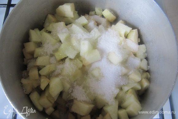 Приготовить яблочное компоте. Яблоки очистить от кожицы, удалить сердцевинки и нарезать мелким кубиком. Сбрызнуть яблоки соком лимона, добавить сахар и томить под крышкой на медленном огне около 10 минут до полного размягчения яблок.