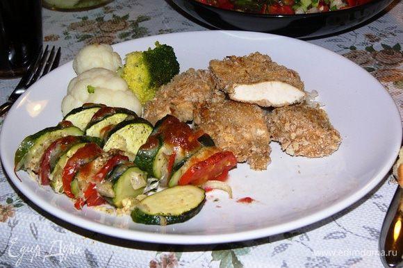 Я подавала в качестве гарнира с сочным куриным филе в сухарях по рецепту Елены Ковач http://www.edimdoma.ru/retsepty/75523-kurinoe-file-v-suharyah. Ну очень вкусно!