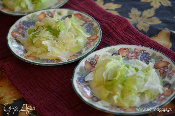 Листья салата нарвать. Разложить по тарелкам.