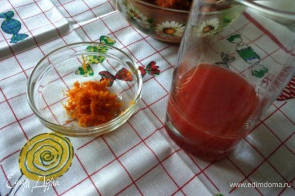 С апельсина снимаем цедру, с помощью мелкой терки, и выжимаем сок. Сока достаточно 70-90 мл. Им мы будем пропитывать готовый кекс.