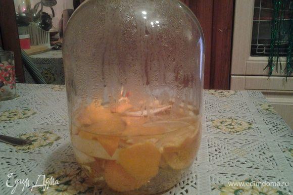 Покушали апельсин. Корки не выкидываем, моем и кладем в банку 3 литровую. Далее заливаем кипятком и даем постоять сутки.