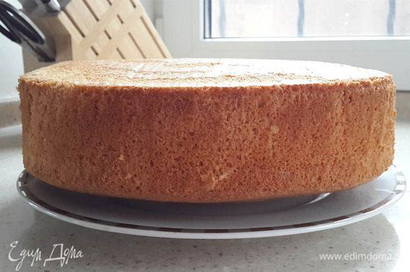 Готовый бисквит остудить и поставить в холод на несколько часов, чтобы он потом лучше разрезался на коржи.