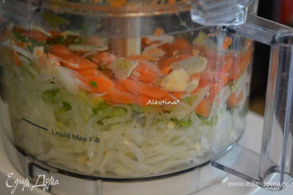 Овощи как морковь, луковицу крупную, сельдерей нарезать тонко вручную или используем технику.