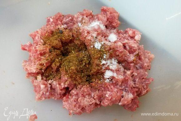 Готовим фрикадельки. К мясному фаршу добавляем соль и любимые специи, перемешиваем.