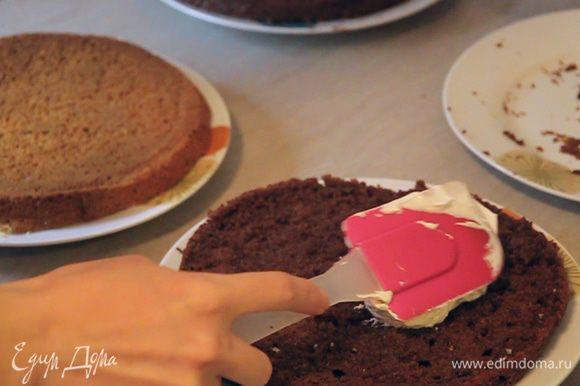 Начинаем собирать торт. Берем блюдо, на котором будет размещен тортик. Смазываем низ блюда нашим кремом. Кладем первый корж темного цвета. Порядок цветов вы можете подобрать по своему усмотрению. Я чередую темные коржи со светлыми.