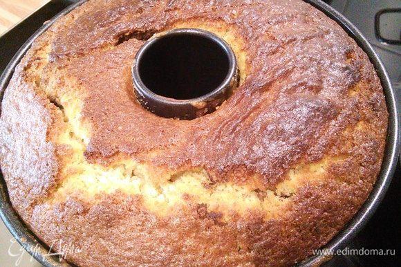 Выпекать кекс в заранее разогретой до 175°C в течении часа. Проверить на сухую палочку. После 20 мин отдыха, аккуратно освободить кекс от формы, охладить на решетке.