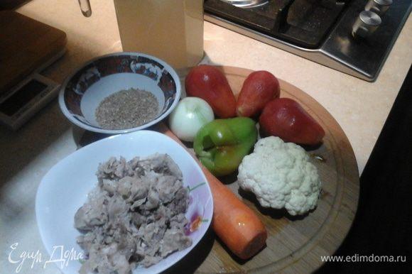 Перво-наперво я сварила бульон: суповая часть индейки, вода, приправы на вкус хозяйки и плита. Индейка готовится быстро, поэтому через 15 — 20 минут бульон готов. Разделываем мясо, при необходимости процеживаем бульон (у меня получилось примерно 1 — 1,2 литра). Подготавливаем овощи.