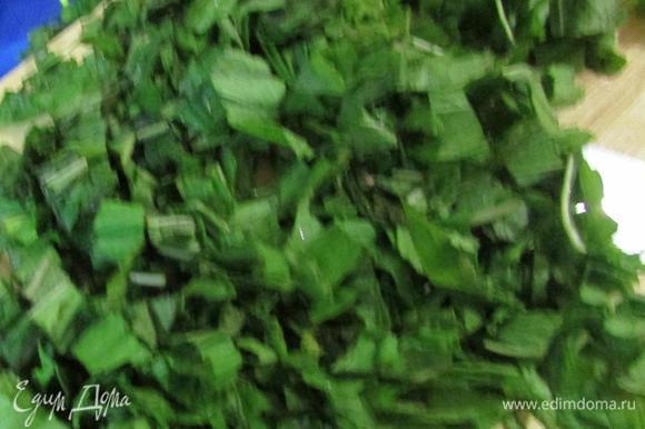 Отделить листья мяты от стеблей. Мелко нарезать.